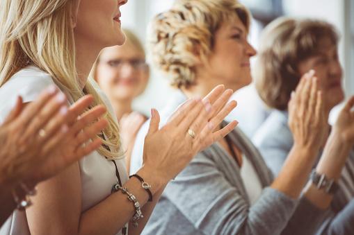 Applauding At Seminar Stock Photo - Download Image Now
