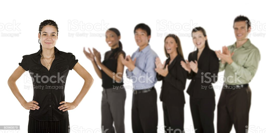 Applauding business team royalty-free stock photo