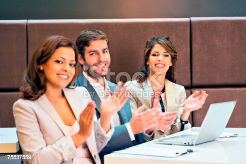171328775 istock photo Applauding on a business meeting 175537559