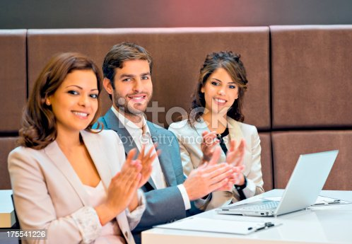 171328775 istock photo Applauding on a business meeting 175541226