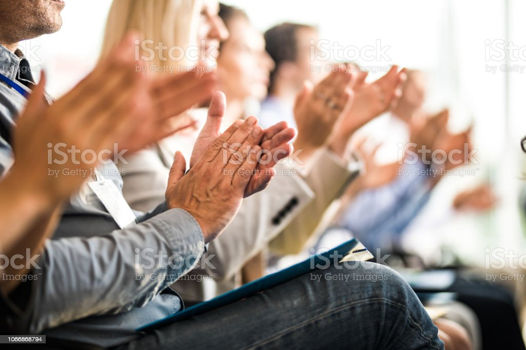 Applauding on a business seminar! stock photo
