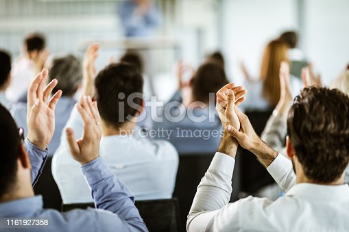 894290604 istock photo Applauding on a business seminar! 1161927358