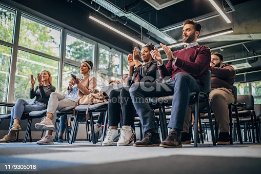 505413934 istock photo Applauding on a business seminar! 1179305018
