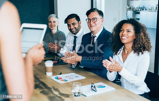 600073884 istock photo Applauding on a business seminar. 1189618274