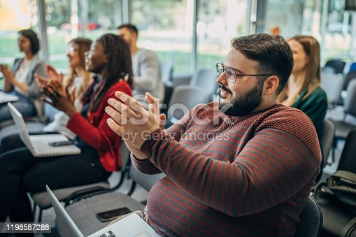 505413934 istock photo Applauding on a business seminar! 1198587288