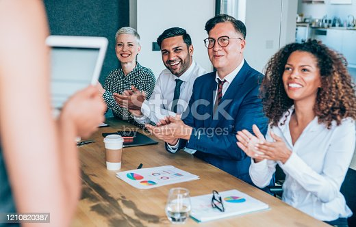 600073884 istock photo Applauding on a business seminar. 1210820387