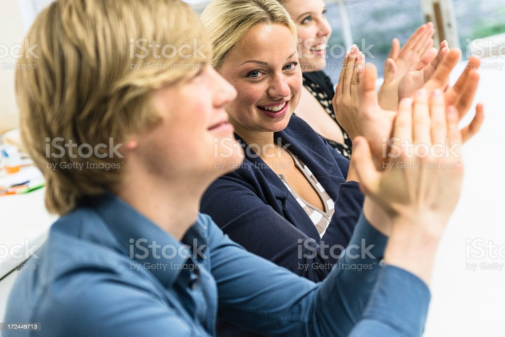 Applauding on a business talk royalty-free stock photo