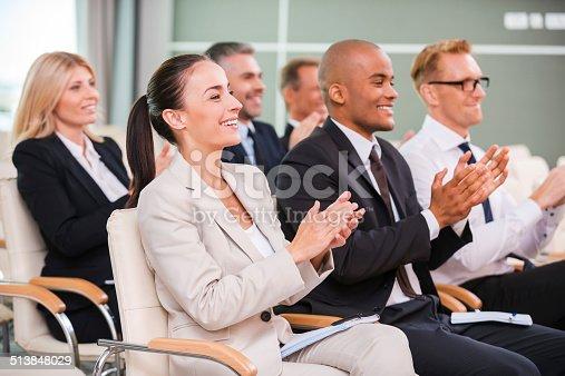 istock Applauding to speaker. 513848029