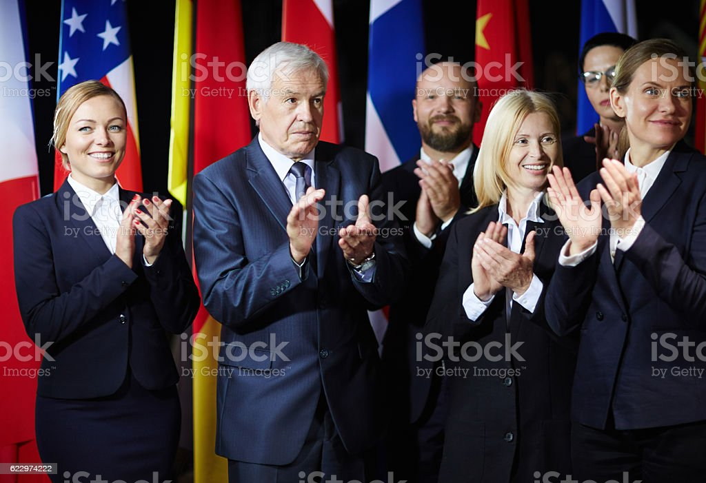 Applauding to spokesperson stock photo