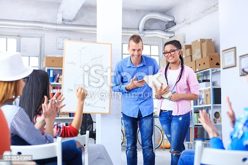 istock Applauds after presentation in workplace 533834986