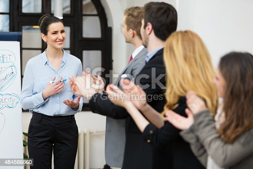 590048454 istock photo Applause after sucessfull presentation 484566660