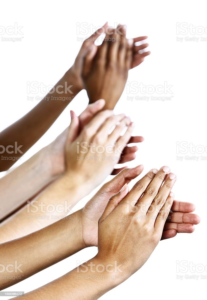 Applause as three female hands clap enthusiastically against white royalty-free stock photo