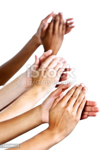 istock Applause as three female hands clap enthusiastically against white 155096472