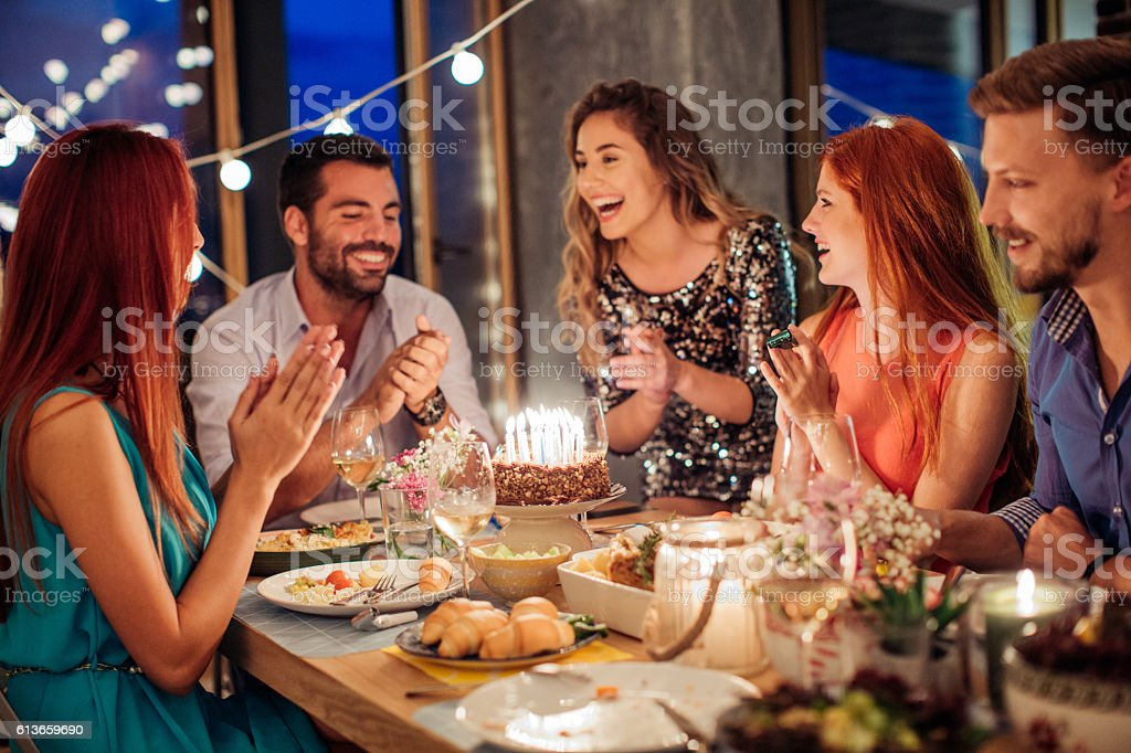 Applause for the bithday girl! stock photo