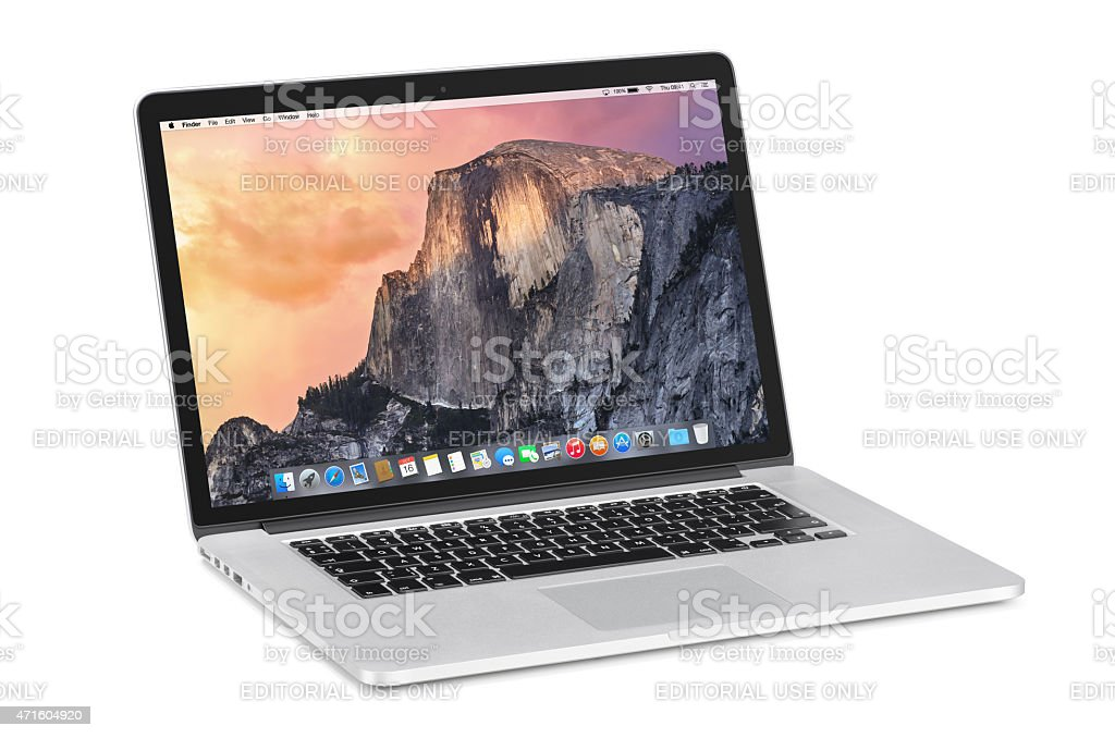 Apple 15 inch MacBook Pro Retina with OS X Yosemite stock photo