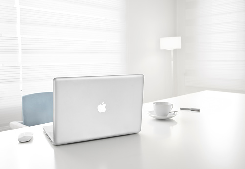 Apple 17-inch MacBook Pro and magic mouse in office