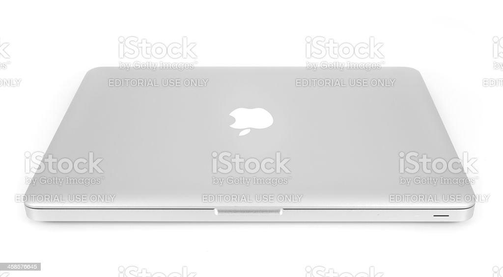 Apple Aluminum Unibody Macbook Isolated on White stock photo