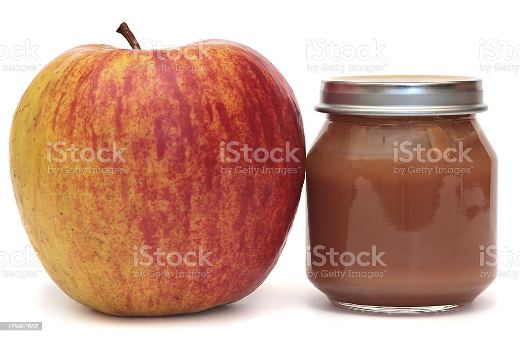 Apple and Bank of baby food. Applesauce. royalty-free stock photo