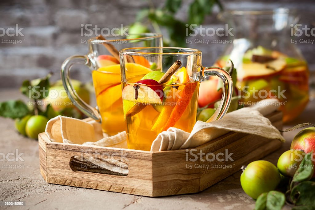 Apple and citrus sangria stock photo