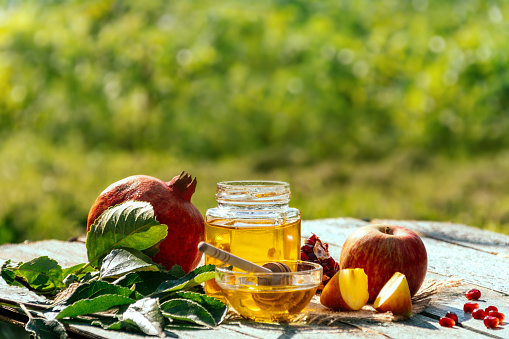 Apple and honey and pomegranate, traditional food of jewish New Year - Rosh Hashana. Copy space background