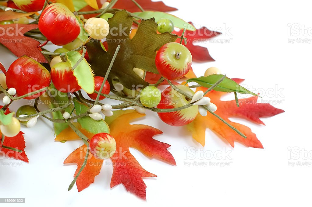 Apple and maple leafs autumn decoration royalty-free stock photo