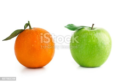Apple and Orange isolted on white