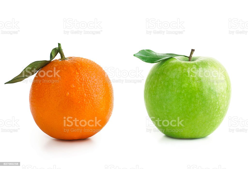 Apple and Orange difference stock photo