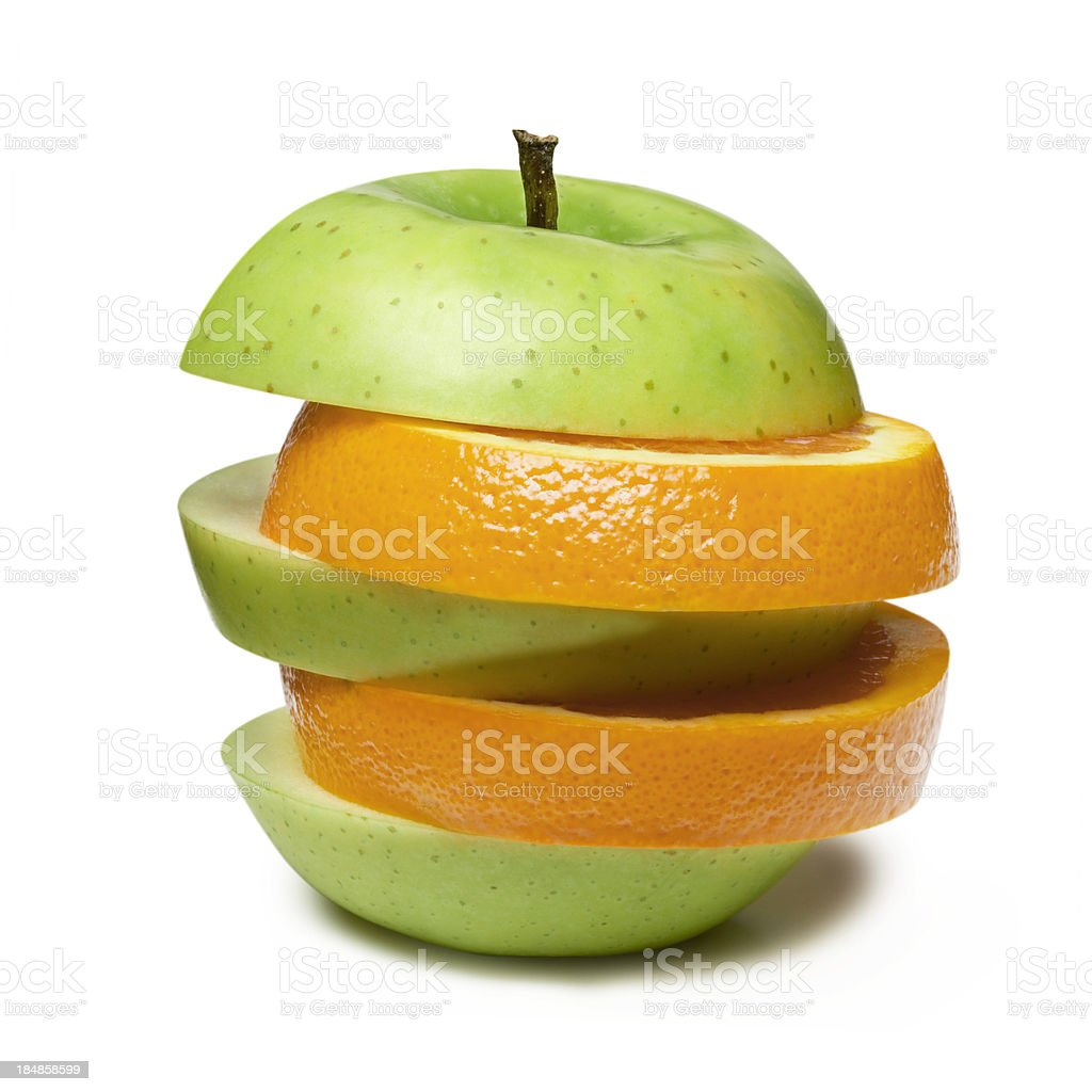 Apple and Orange royalty-free stock photo