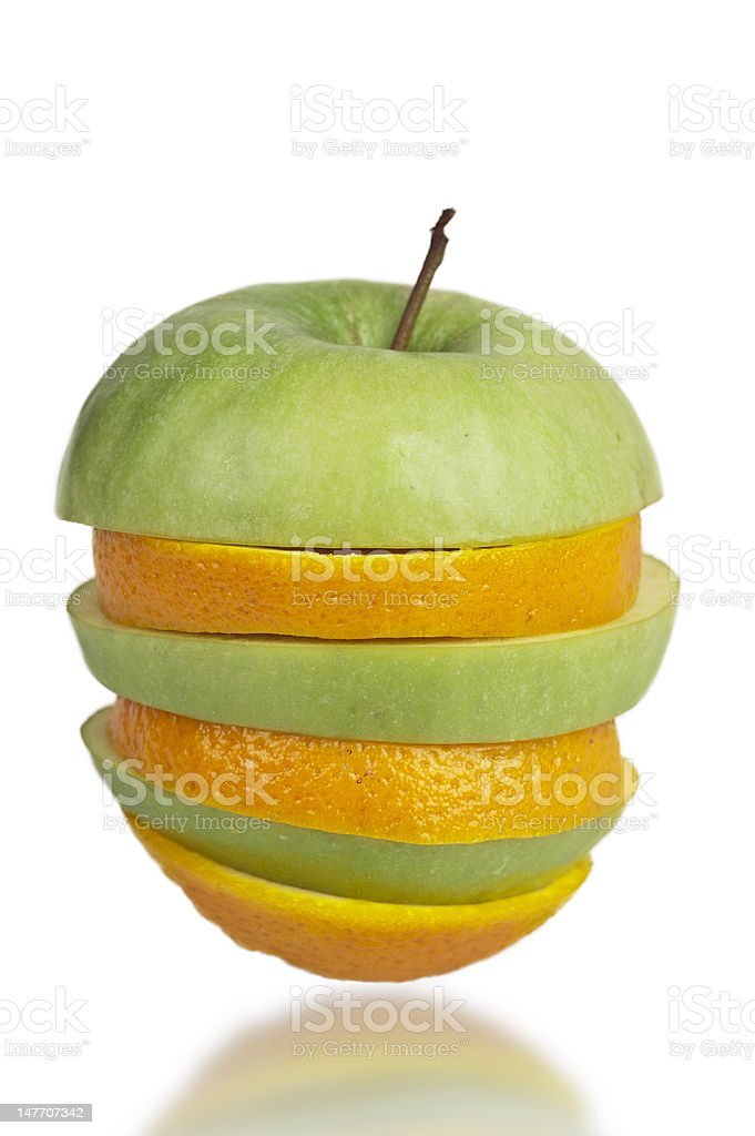 Apple and orange sliced together royalty-free stock photo