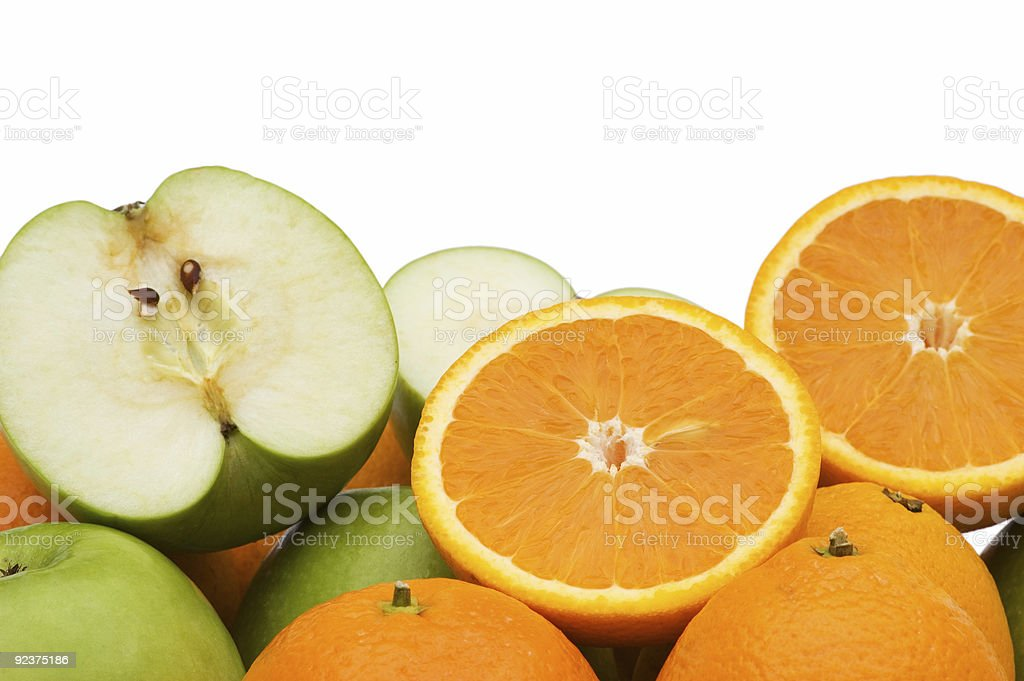 Apple and oranges isolated on the white royalty-free stock photo