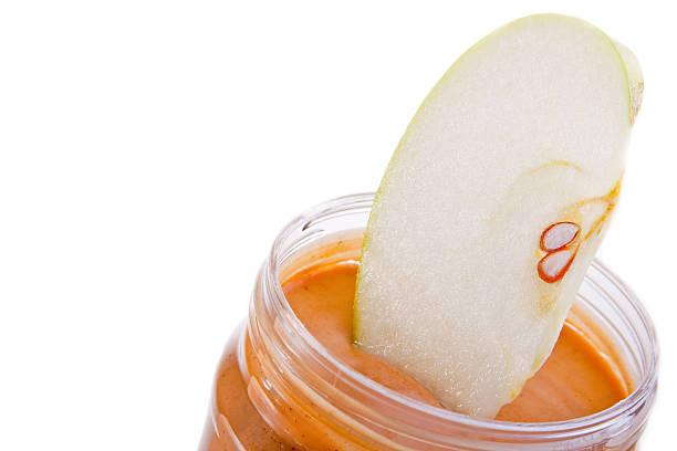 apple and peanutbutter - peanutbutter bildbanksfoton och bilder