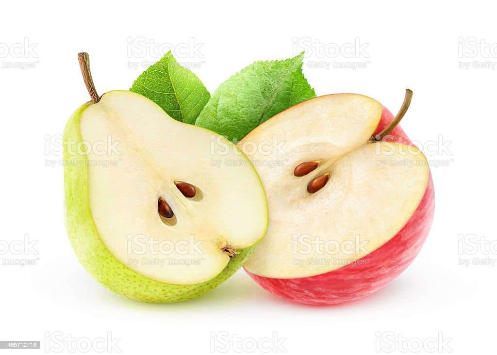 Apple and pear halves isolated on white with clipping path stock photo