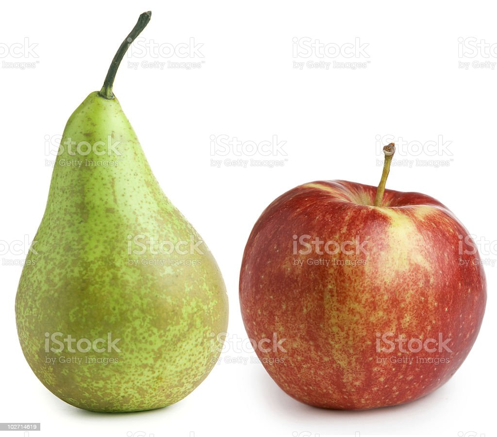 Apple and pear isolated on white background stock photo