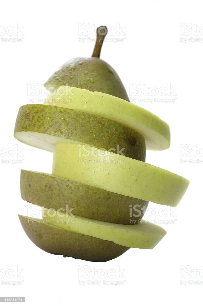 apple and pear slices making one fruit royalty-free stock photo