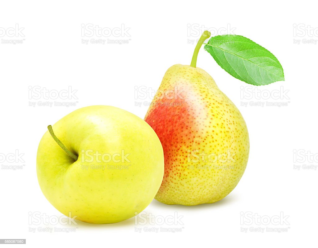 Apple and pear with green leaf. stock photo