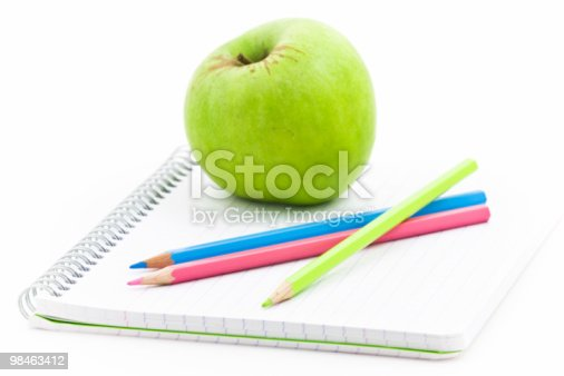 istock Apple and spiral notebook 98463412