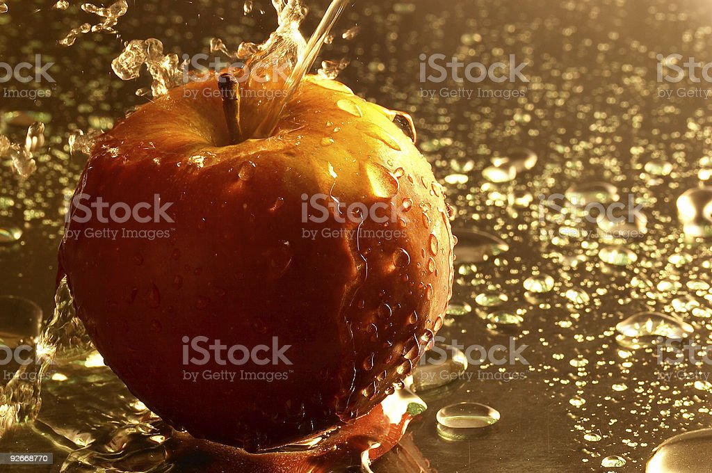 Apple and water 2 royalty-free stock photo