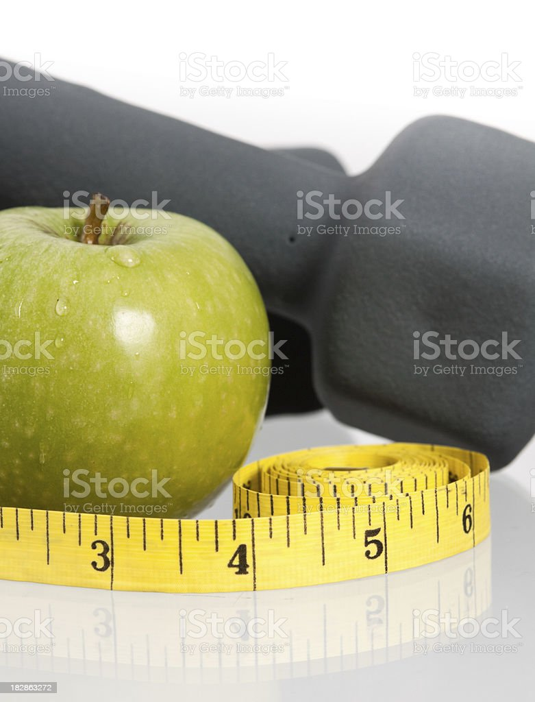 Apple and Weights royalty-free stock photo