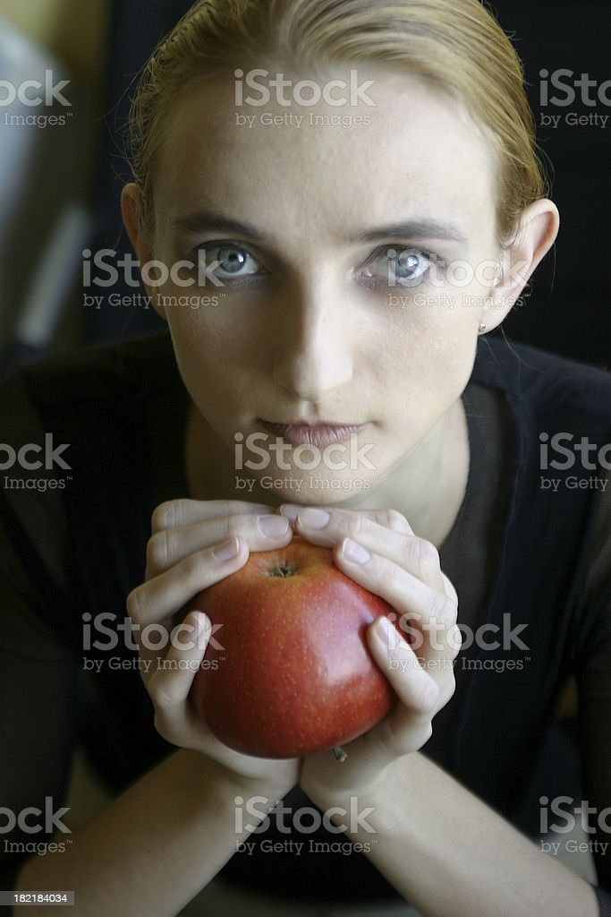 apple and woman royalty-free stock photo