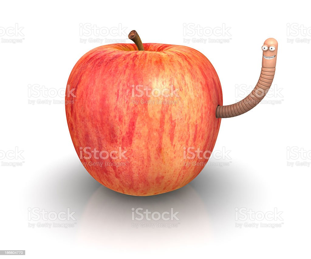 Apple and Worm stock photo