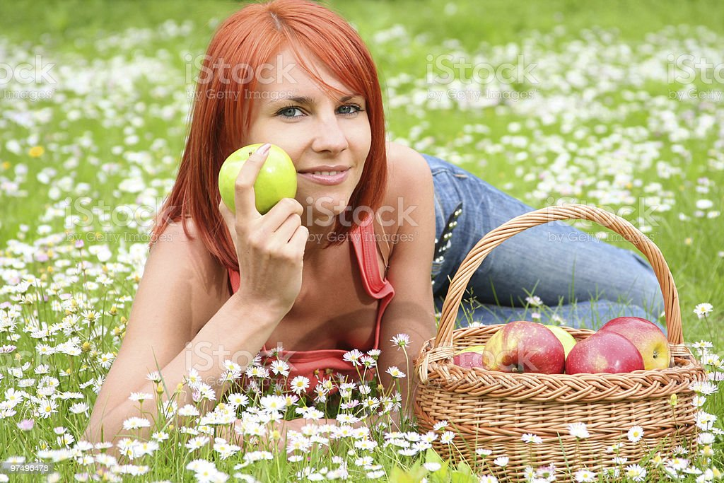 apple basket royalty-free stock photo