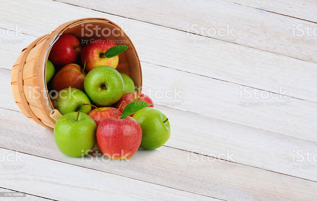 Apple Basket Spill stock photo