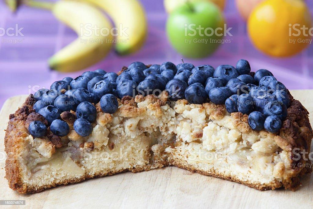 Apple & Blueberry Crumble Cake stock photo
