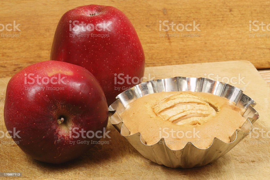 Apple cake in mold stock photo