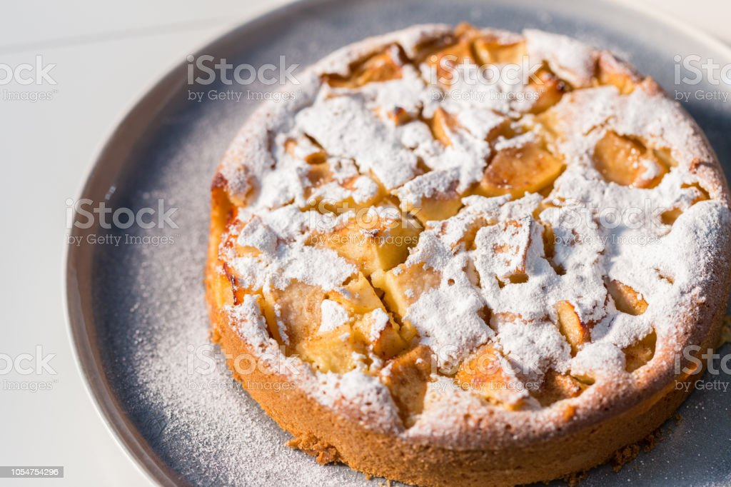 Apple cake side view stock photo
