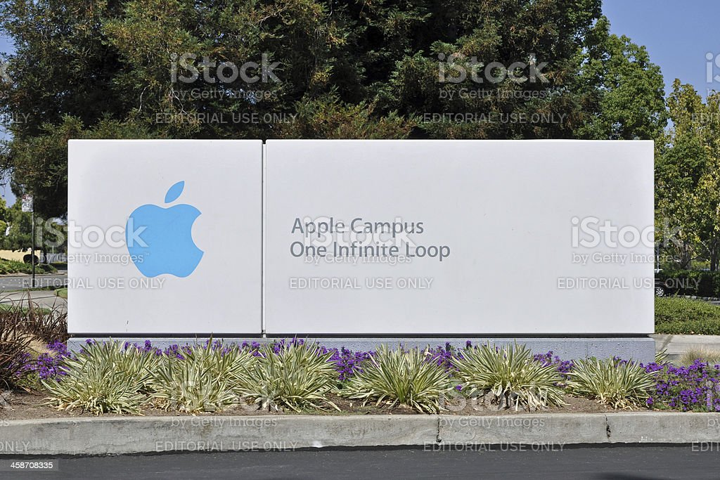 Apple Campus One Infinite Loop Sign stock photo