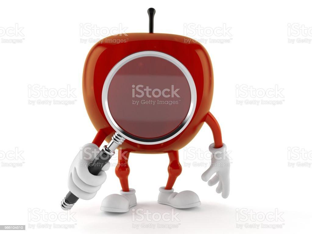 Apple-Charakter Blick durch die Lupe - Lizenzfrei Analysieren Stock-Foto