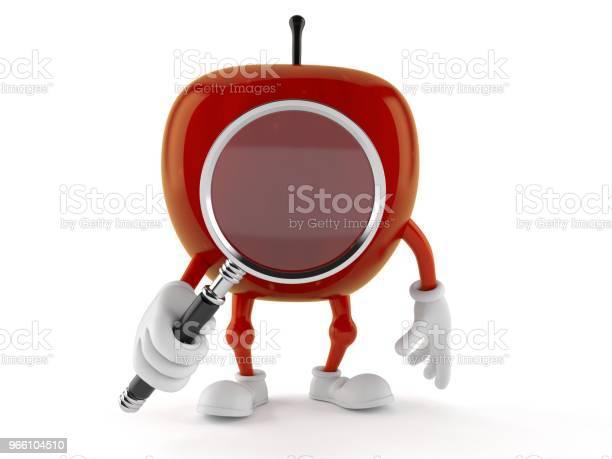 Apple Karaktär Tittar Genom Förstoringsglas-foton och fler bilder på Analysera