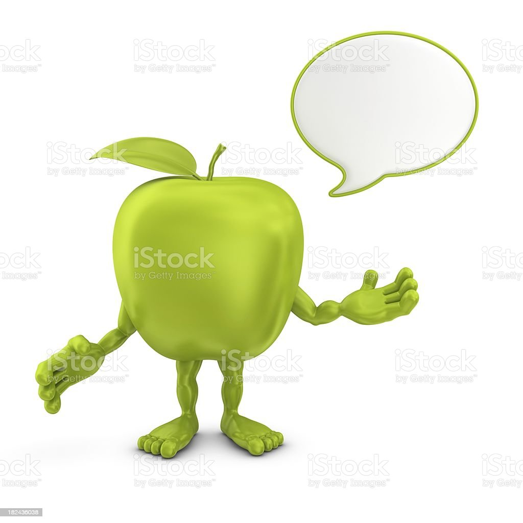 apple character with speech bubble royalty-free stock photo