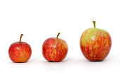 3 red apples  in a row - like a chart.